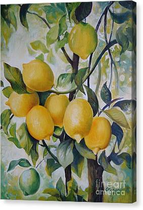 Canvas Print featuring the painting Lemons by Elena Oleniuc