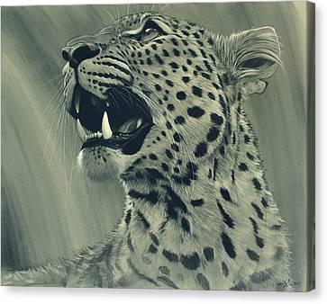Canvas Print featuring the digital art Leopard Portrait by Aaron Blaise