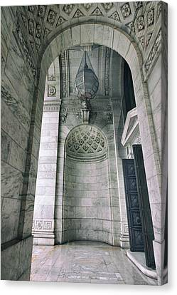 Canvas Print featuring the photograph Library Portico by Jessica Jenney