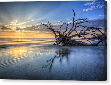 Reflection Of Sun In Clouds Canvas Print - Light At Dawn by Debra and Dave Vanderlaan
