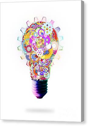Light Bulb Design By Cogs And Gears  Canvas Print by Setsiri Silapasuwanchai