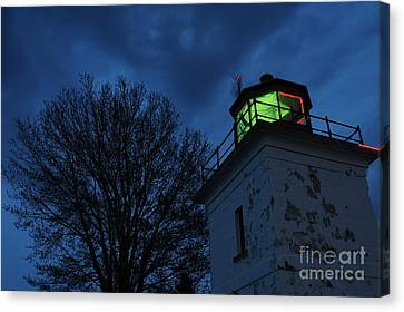 Lighthouse At Night Canvas Print