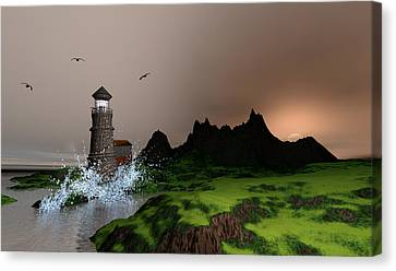 Lighthouse Landscape By John Junek Fine Art Prints And Posters Canvas Print by John Junek