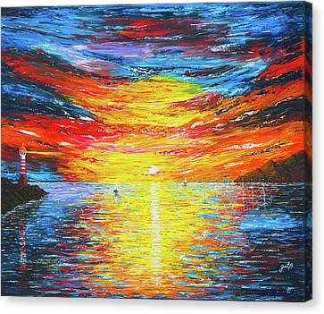 Canvas Print featuring the painting  Lighthouse Sunset Ocean View Palette Knife Original Painting by Georgeta Blanaru