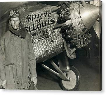 Lindbergh With His Airplane, 1928 Canvas Print