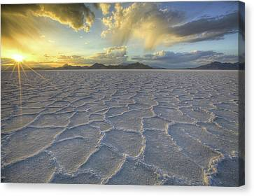 Lines In The Salt Canvas Print by Peter Irwindale
