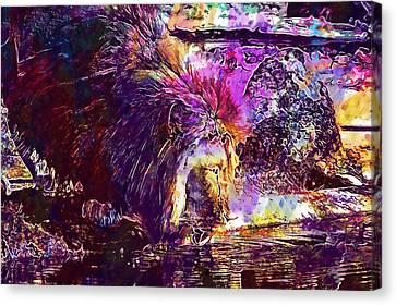 Canvas Print featuring the digital art Lion Cat Zoo Male Big Cat Africa  by PixBreak Art
