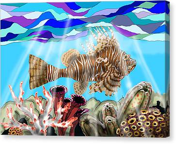 Lion Fish Canvas Print by Mike Moss