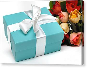 Little Blue Gift Box And Flowers Canvas Print