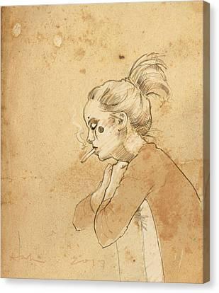 Ponytail Canvas Print - Little Clown by H James Hoff