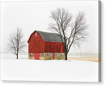 Winter Landscapes Canvas Print - Little Red Barn by Todd Klassy