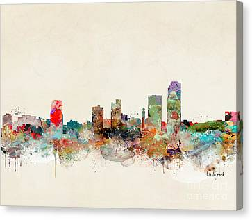 Canvas Print featuring the painting Little Rock Arkansas by Bri B