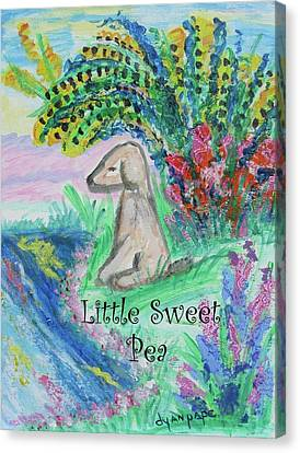 Little Sweet Pea With Title Canvas Print by Diane Pape