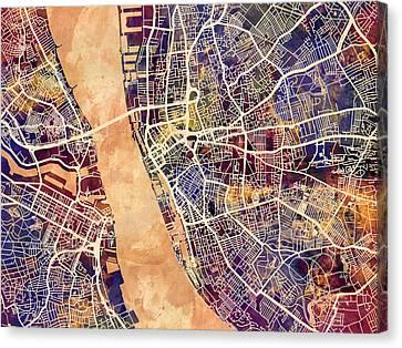 Liverpool England Street Map Canvas Print
