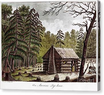 Log Cabins Canvas Print - Log Cabin, 1826 by Granger