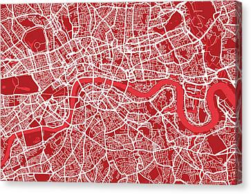 London City Map Canvas Print - London Map Art Red by Michael Tompsett