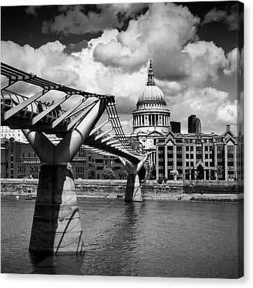 City Of Bridges Canvas Print - London Millennium Bridge And St Paul's Cathedral - Monochrome by Melanie Viola