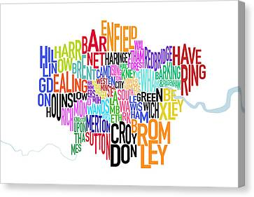 London Uk Text Map Canvas Print by Michael Tompsett