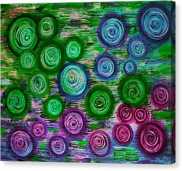 Looking Down On Umbrellas-trois Canvas Print by Brenda Higginson