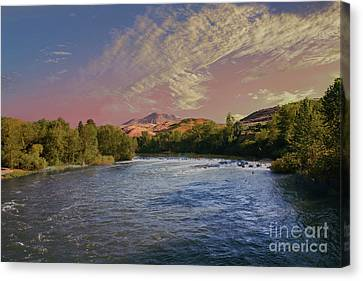 Looking Up The Payette River Canvas Print by Robert Bales