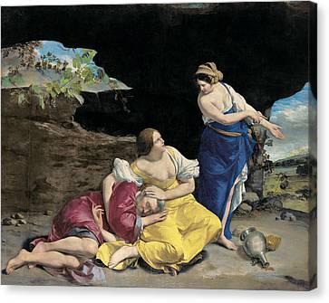 Lot And His Daughters Canvas Print by Orazio Gentileschi