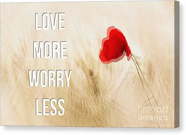 Love More Worry Less - Inspirational Poster Canvas Print by Celestial Images
