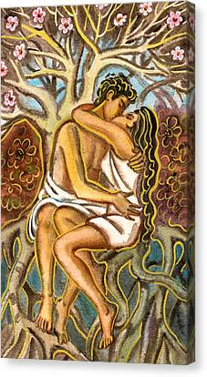 Lovers Kissing Each Other Under A Blooming Tree Canvas Print by Vasile Movileanu