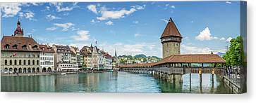Lucerne Chapel Bridge And Water Tower - Panoramic Canvas Print by Melanie Viola