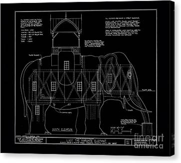 Lucy The Elephant Building Patent Blueprint Canvas Print by Edward Fielding
