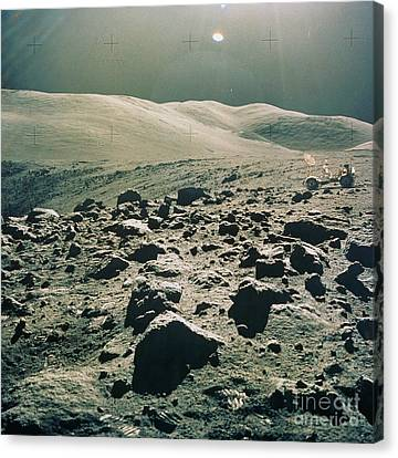Lunar Rover At Rim Of Camelot Crater Canvas Print by NASA / Science Source