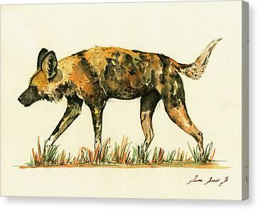 Wild Dogs Canvas Print - Lycaon Wild Dog by Juan  Bosco