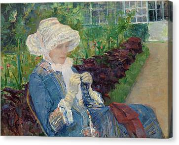 Lydia Crocheting In The Garden At Marly Canvas Print by Mary Cassatt