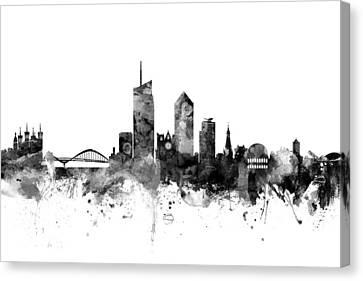 Michael Canvas Print - Lyon France Skyline by Michael Tompsett