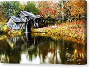 Mabry Mill Autumn Canvas Print by Darren Fisher