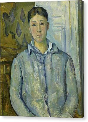 Madame Cezanne In Blue  Canvas Print by Paul Cezanne