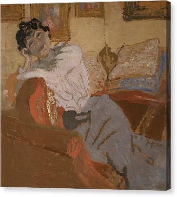 Madame Hessel On The Sofa Canvas Print by Edouard Vuillard