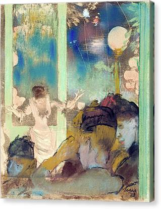 Performers Canvas Print - Mademoiselle Becat At The Cafe Des Ambassadeurs by Edgar Degas