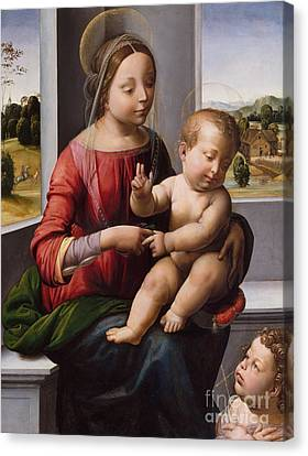Madonna And Child With The Young Saint John The Baptist Canvas Print by Fra Bartolomeo