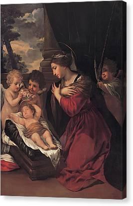 Madonna With The Child And Angels Canvas Print by Pietro Da Cortona