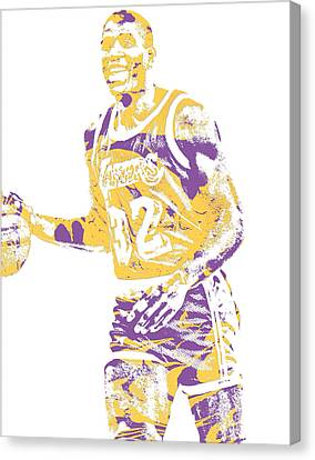 Cities Canvas Print - Magic Johnson Los Angeles Lakers Pixel Art 5 by Joe Hamilton