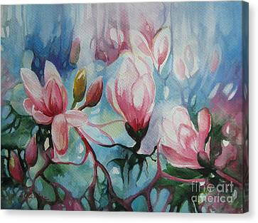 Canvas Print featuring the painting Magnolia by Elena Oleniuc