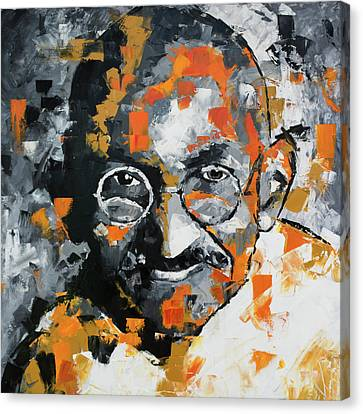 Canvas Print featuring the painting Mahatma Gandhi by Richard Day