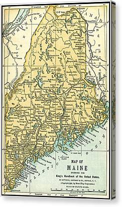 Maine Antique Map 1891 Canvas Print by Phil Cardamone