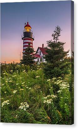 Maine West Quoddy Head Light At Sunset Canvas Print