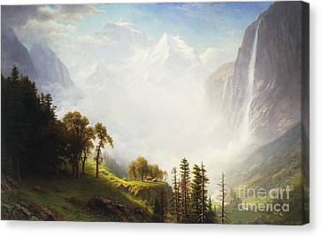 Foggy Day Canvas Print - Majesty Of The Mountains by Albert Bierstadt