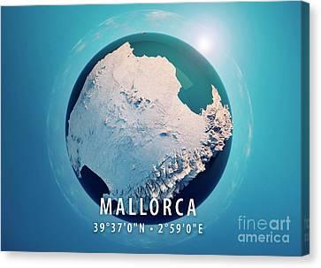 Mallorca Island 3d Little Planet 360-degree Sphere Panorama Blue Canvas Print