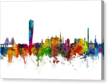 Malmo Sweden Skyline Canvas Print by Michael Tompsett