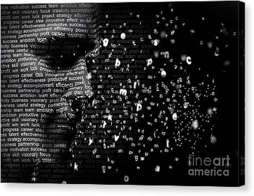 Business Plan Canvas Print - Man Face Blended With Flowing List Of Motivational Words by Michal Bednarek