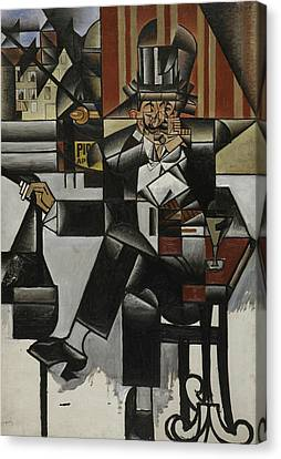 Man In A Cafe Canvas Print by Juan Gris