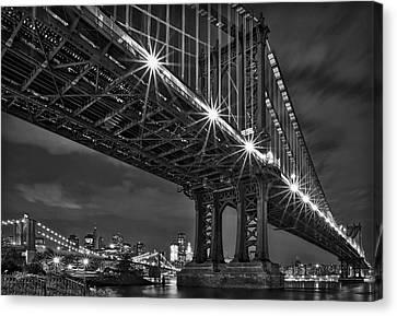 Manhattan Bridge Frames The Brooklyn Bridge Canvas Print by Susan Candelario